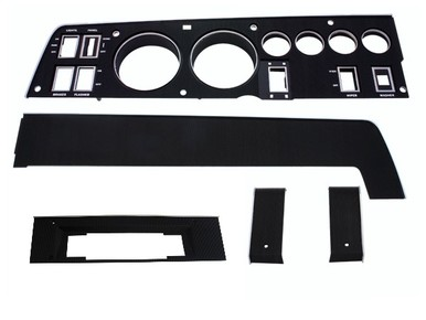 68 CHARGER RALLY DASH BLACK BEZEL KIT WITH 8 TRACK AND WITH NO AC