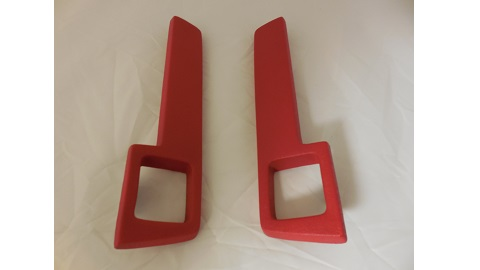 "64-66 A BODY, 64-65 B & C BODY REAR ARM REST PADS RED 11"" SOLD AS A PAIR"