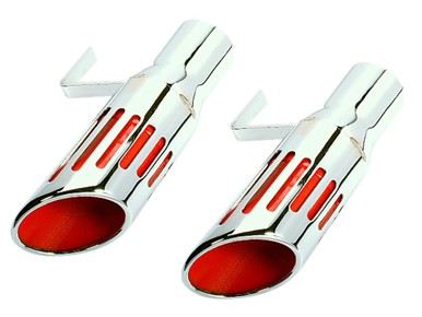 71-74 RED SLOTTED SHORT STYLE EXHAUST TIPS